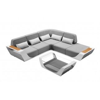 Onda lounge alu blanc coussins sunbrella gris